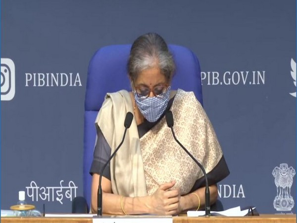Union Finance Minister Nirmala Sitharaman addressing the media (Photo/ANI)