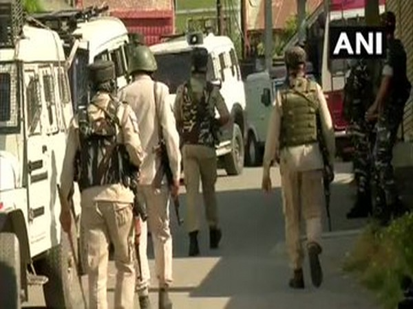 Visuals from the cordon and search operation in Srinagar on Sunday. [Photo/ANI]