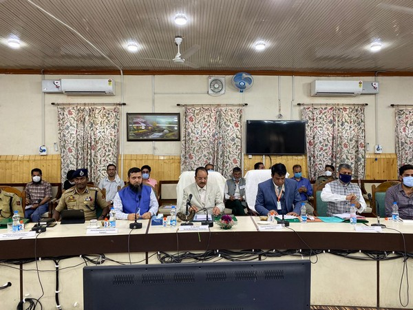 Visual of meeting chaired by Union MoS Ajay Bhatt with Kupwara District administration (Photo/Twitter)
