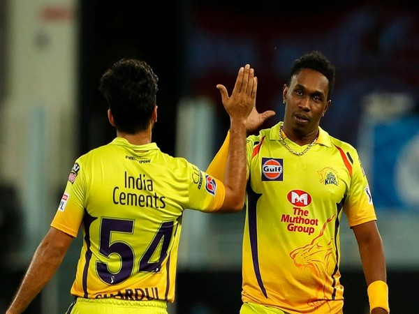 CSK all-rounder Dwayne Bravo along with Shardul Thakur (Photo/ iplt20.com)