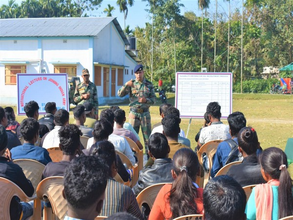 Indian Army conducted a motivational talk at Dimdima Tea Estate on Sunday. Photo/ANI