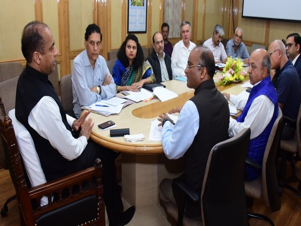 Himachal Pradesh Chief Minister Jai Ram Thakur during a meeting with officials from Reliance Industries and others in Shimla on Saturday. Photo/ANI