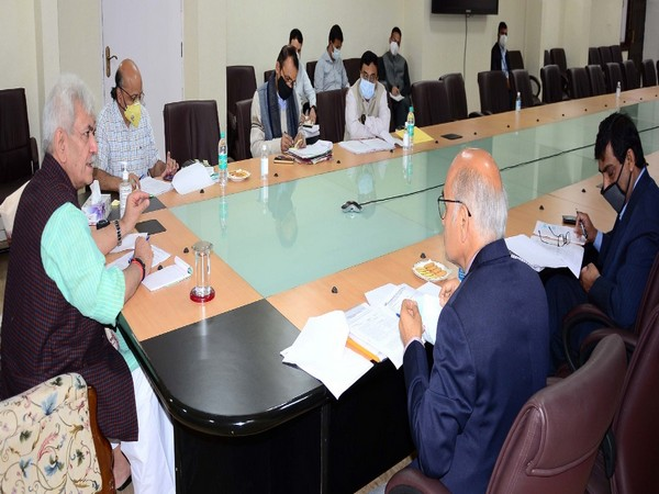 Lieutenant Governor (LG) of Jammu and Kashmir Manoj Sinha at the review meeting at the Civil Secretariat.