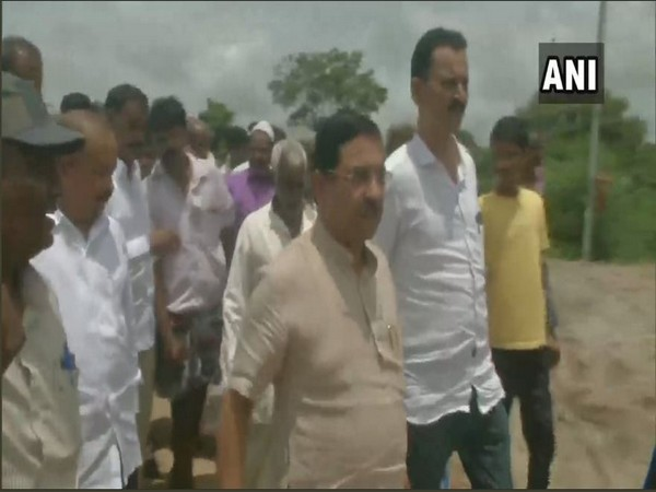 Union Minister Pralhad Joshi visited flood-affected Dharwad on Monday. Photo/ANI