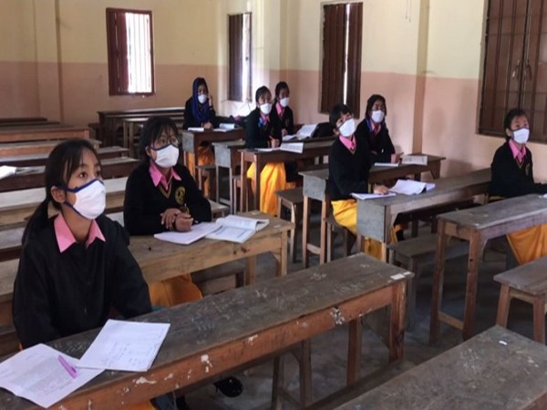 Students sitting in a classroom at a school in Imphal. (Photo/ANI)