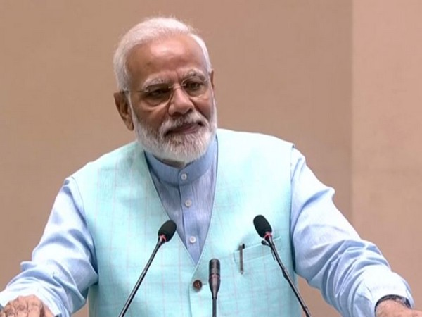 Prime Minister Narendra Modi adressing the public during the inauguration of Garvi Gujarat Bhawan in Delhi. Photo/ANI