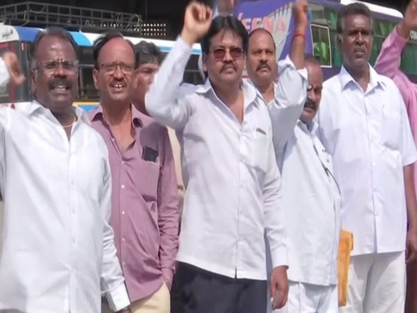Workers of Telangana State Road Transport Corporation (TSRTC) protesting in Hyderabad on Sunday. Photo/ANI