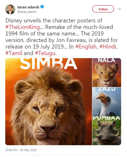 Disney Unveils Posters Of Iconic Characters From The Lion King