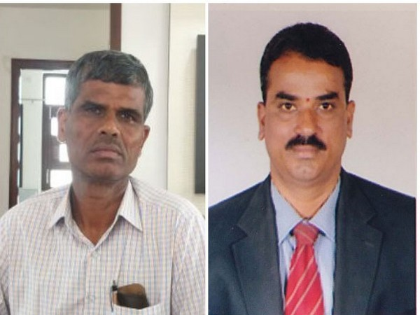 Two cops who sought bribe from registrar in Hyderabad, Telangana. (Photo/ANI)