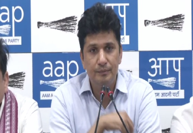 Greater Kailash MLA and Secretary-Delhi, Spokesperson, AAP, Saurabh Bharadwaj speaking at a press conference in New Delhi on Friday.