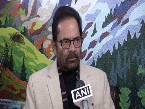Union minorities affairs minister Mukhtar Abbas Naqvi speaks to ANI in New Delhi on Saturday [Photo/ANI]