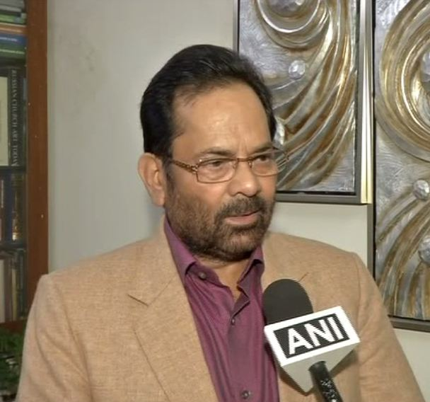 Union Minister of Minority Affairs Mukhtar Abbas Naqvi speaks to ANI in New Delhi [Photo/ANI]