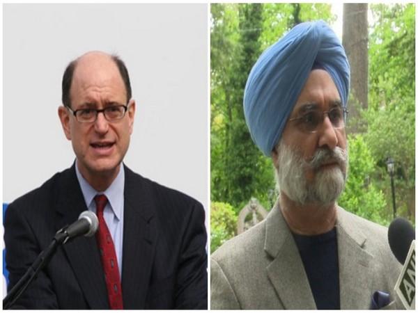 US Congressman Brad Sherman (L) and Indian Ambassador to the United States Taranjit Singh Sandhu (R)