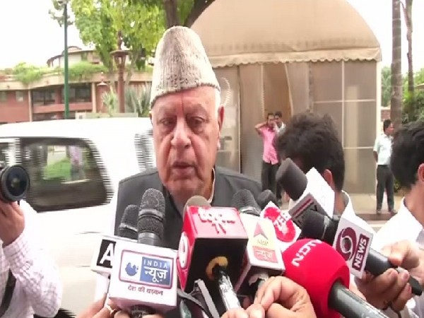 National Conference Chairman Farooq Abdullah speaking to media in New Delhi on June 28. Photo/ANI