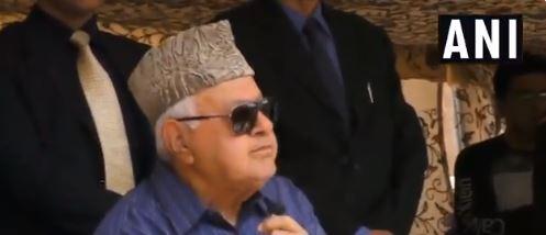 NC leader Farooq Abdullah addressing a public rally at Srinagar on Monday