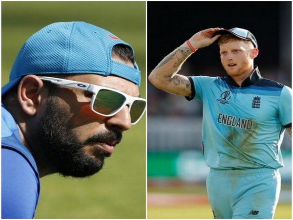 Former Indian all rounder Yuvraj Singh and England's Ben Stokes