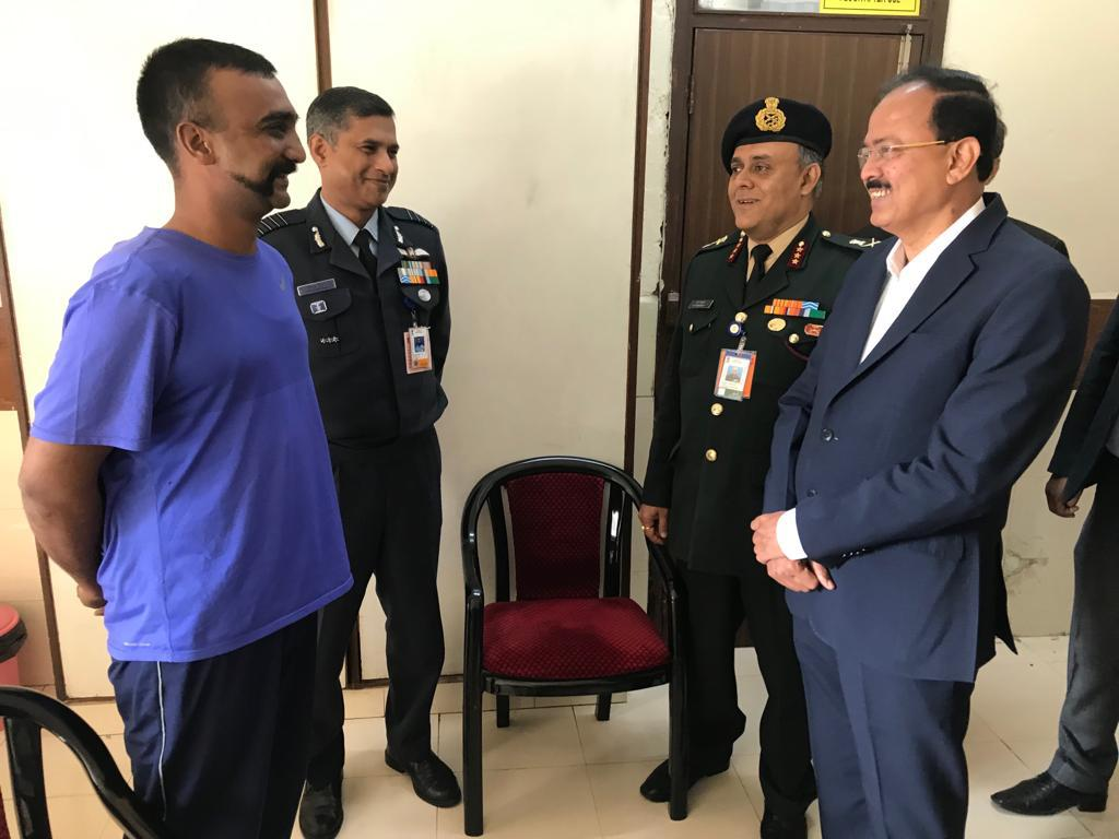 Minister of State for Defence Dr Subhash Bhamre on Sunday met Indian Air Force (IAF) Wing Commander Abhinandan Varthaman at Research and Referral Hospital in Delhi Cantonment.