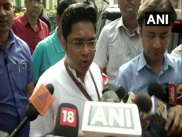 TMC leader Abhishek Banerjee speaking to reporters