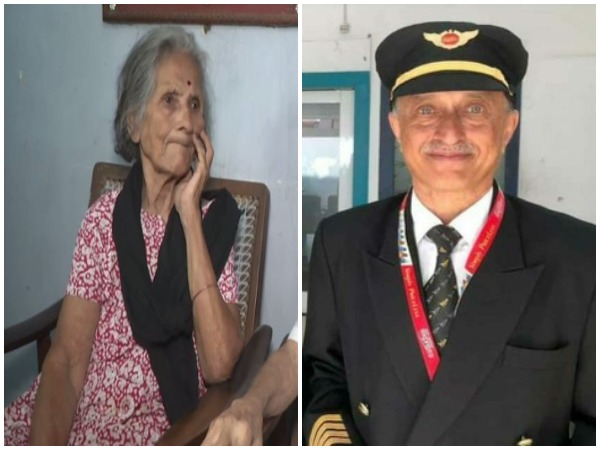 Neela Sathe (right), the mother of late captain DV Sathe (right)