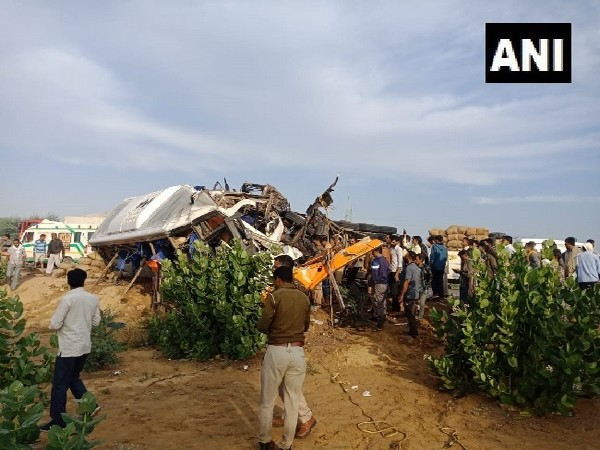 Visual from the spot of accident in Bikaner, Rajasthan on Monday.