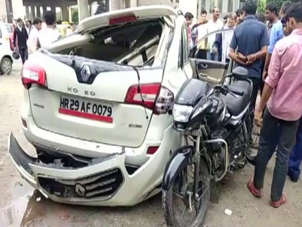 Visual of the car and bike which collided on Sunday. Photo/ANI