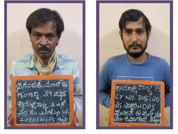 Two men arrested by West Division Police in Bengaluru for possessing cannabis [Photo/ANI]