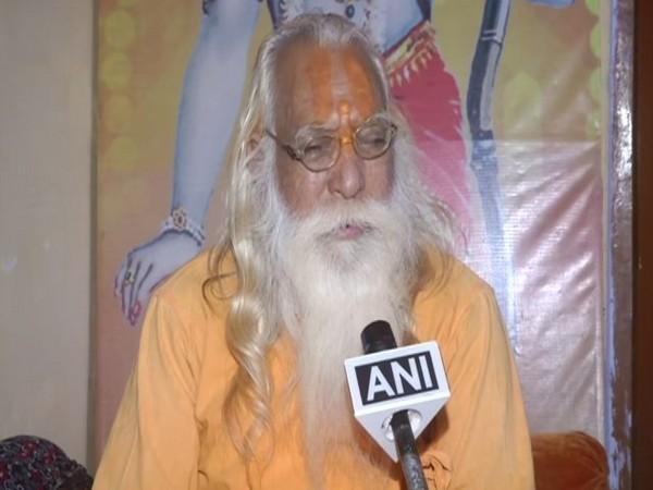 Acharya Satyendra Das, head priest of the makeshift Ram temple, speaking to ANI in Ayodhya, Uttar Pradesh on Monday. (Photo/ANI)