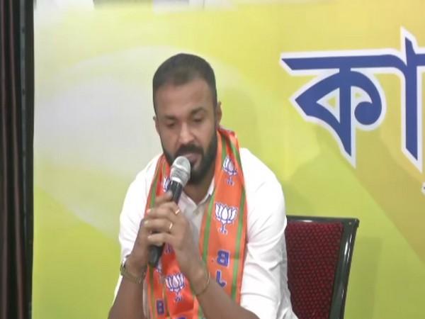 Footballer Arindam Bhattacharya speaking in Kolkata on Tuesday.