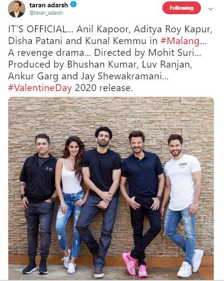 Anil Kapoor Aditya Roy Kapur Disha Patani Kunal Kemmu To Star In Malang