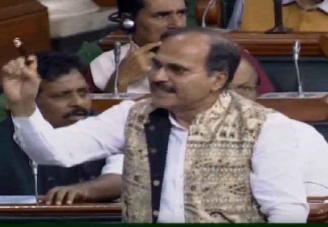Congress leader Adhir Ranjan Chowdhury speaking in the Lok Sabha on Tuesday.