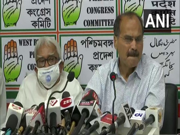 Adhir Ranjan Chowdhury (right) and Biman Bose (left) addressing a joint press conference in Kolkata on Monday.