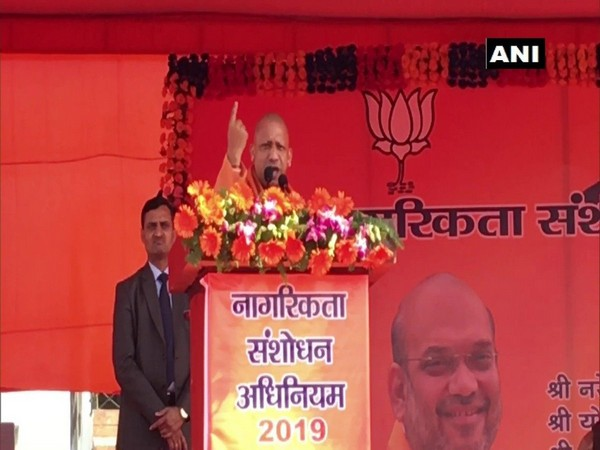 UP CM Yogi Adityanath at a rally in Kanpur on Wednesday (photo/ANI)