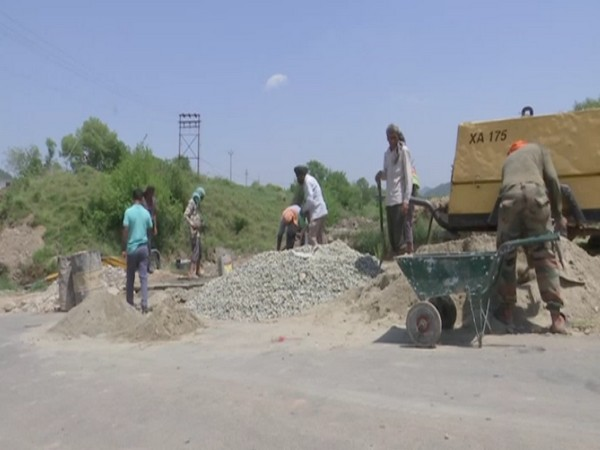 Visuals of the construction work in Rajouri district (Photo/ANI)