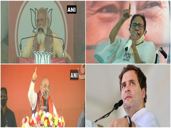 Prime Minister Narendra Modi, West Bengal Chief Minister Mamata Banerjee, Congress MP Rahul Gandhi, Union Home Minister Amit Shah (Clockwise from top left)