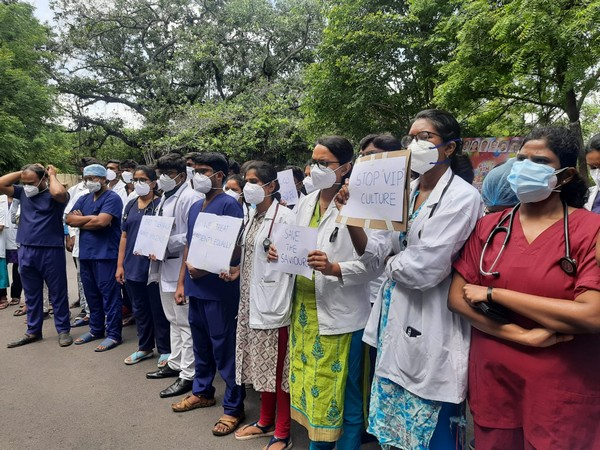 Doctors protesting outside the Government Chest Hospital in Hyderabad on Monday. (Photo/ANI)