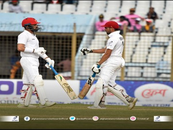 Afsar Zazai (34) and Yamin Ahmadzai (0) will resume their innings on day four. (Photo/Afghanistan Cricket Board Twitter)