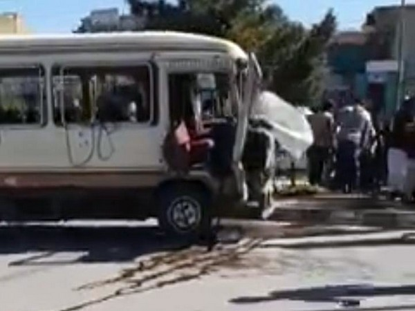The IED blast destroyed the front part of the bus. (Photo courtesy: Tolo News Twitter handle)