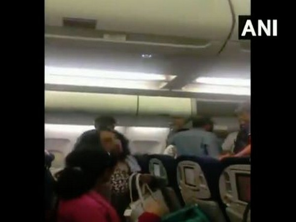 Visuals from within the Paris-bound Air France flight in New Delhi which suffered a technical problem on Wednesday morning (Photo/ANI)