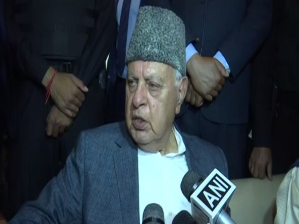 Former Jammu and Kashmir Chief Minister Farooq Abdullah speaking to media persons on Sunday.