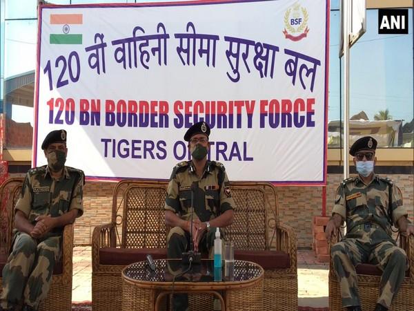 BSF IG, Tripura Frontier, Susanta Nath, at the check post on Saturday. (Photo/ANI)
