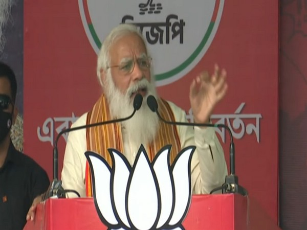 Prime Minister Narendra Modi addressing a public rally in West Bengal's Barasat on Monday. (ANI)