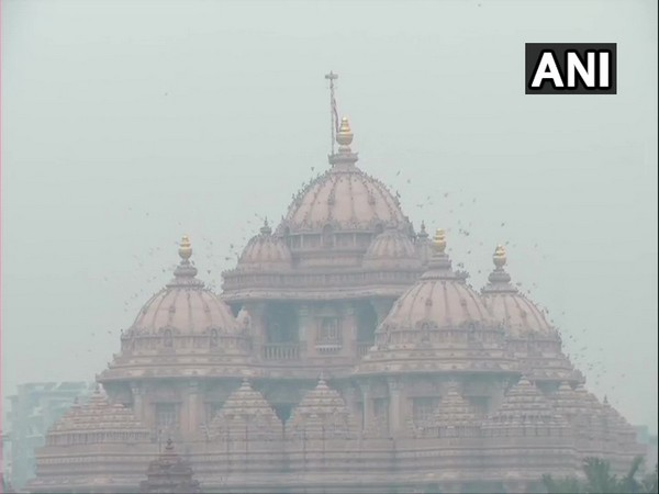 Visual of Akshardham Temple in the national capital on Monday. (Photo/ANI)