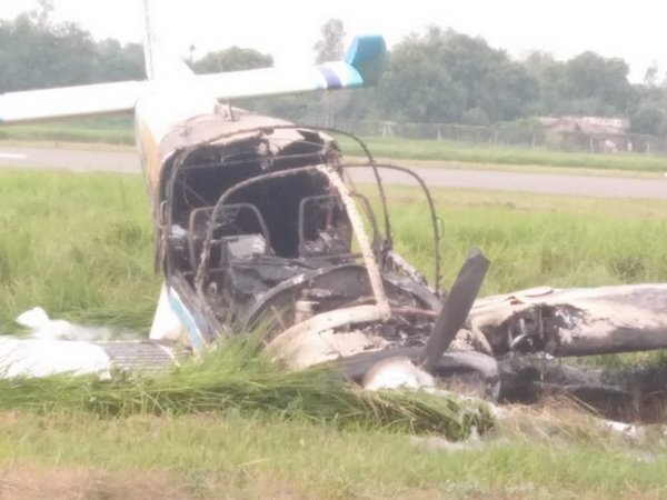 The aircraft, which crashed at IGRUA, Fursatganj, Amethi on Monday. Photo/ANI