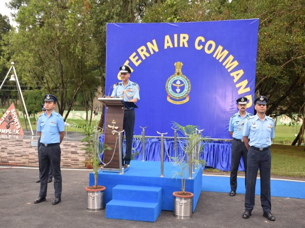 Visual of Easter Air Commander celebrating 87th Air Force Day in Shillong. Photo/ANI