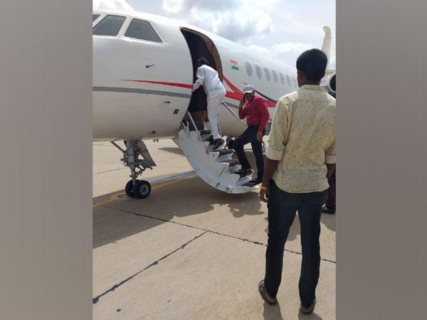 Congress MLA MTB Nagaraj boarding a flight to Mumbai from HAL airport, Bengaluru.