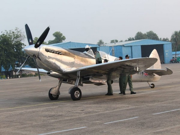 Silver Spitfire aircraft of World War-II vintage at the Indian Air Force (IAF) station in Nagpur's Sonegaon.