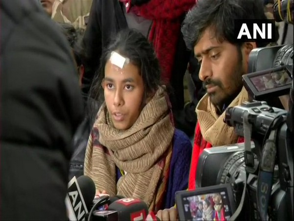 Aishe Ghosh speaking to reporters in New Delhi on Friday. Photo/ANI