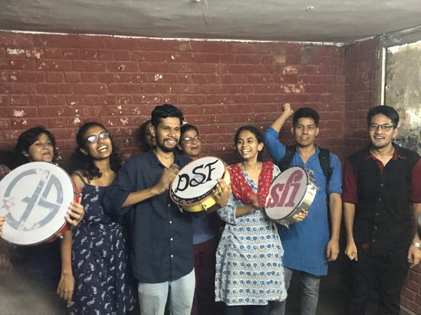 Left Unity students celebrating the JNUSU results on the campus on Tuesday. Photo/ANI