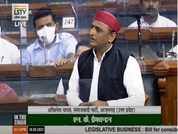 Samajwadi Party MP Akhilesh Yadav in Lok Sabha today. (Photo/ ANI)