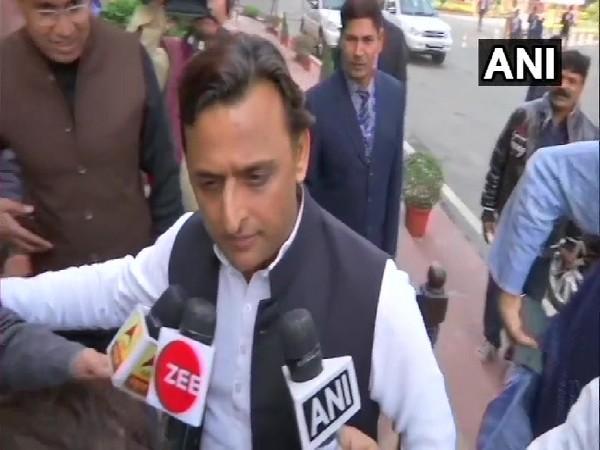 Samajwadi Party chief Akhilesh Yadav speaking to media in New Delhi on Monday.